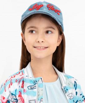 кепка button blue для девочки, голубая