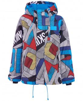 Серая зимняя куртка с орнаментом