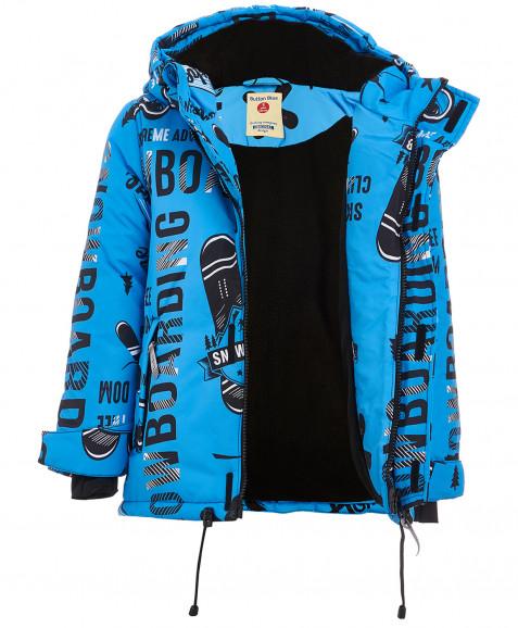 Голубая зимняя куртка с орнаментом