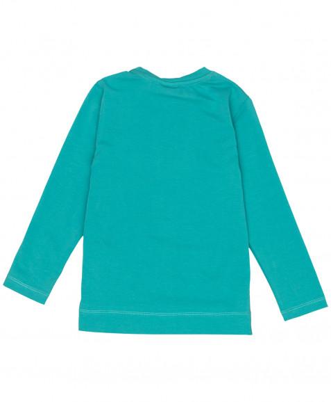 Зеленая футболка с длинным рукавом