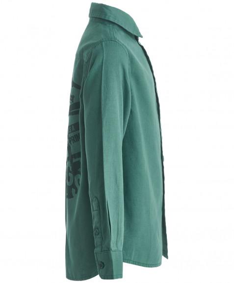 Зеленая рубашка с длинным рукавом