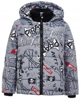 Серая зимняя куртка с орнаментом 219BBBC41040613 фото