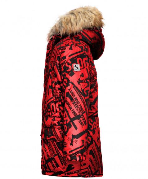 Красное зимнее пальто с орнаментом