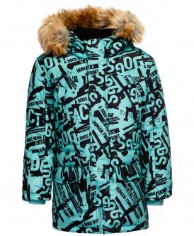 Зеленое зимнее пальто с орнаментом
