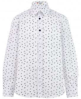"Белая рубашка с орнаментом ""Самолетик"" 219BBBS23030213 фото"