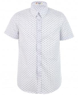 """Белая рубашка с орнаментом """"Якоря"""" 219BBBS23070213 фото"""