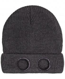 Серая двойная вязаная шапка
