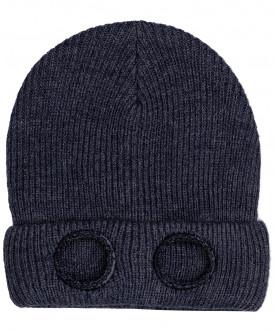 Синяя двойная вязаная шапка