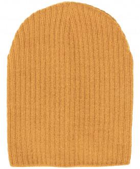 Вязаная шапка горчичного цвета