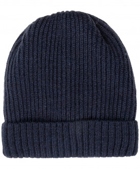 Синяя вязаная шапка на подкладке 219BBBX73034000 фото
