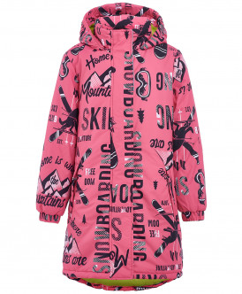 Розовое зимнее пальто с орнаментом