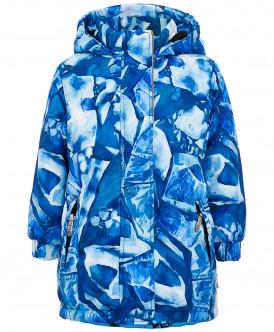 Синее зимнее пальто с орнаментом 219BBGA45010020 фото