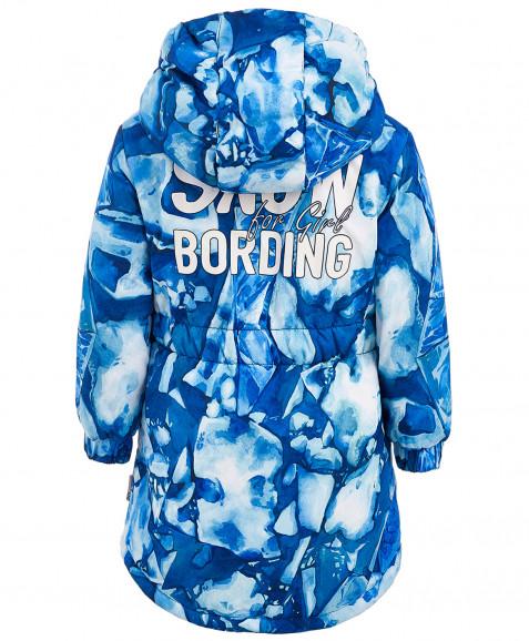 Синее зимнее пальто с орнаментом