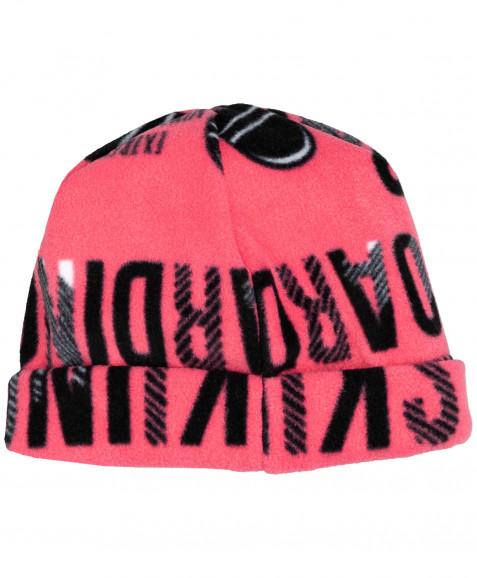 Розовая флисовая шапка