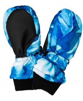 Синие плащевые варежки с орнаментом