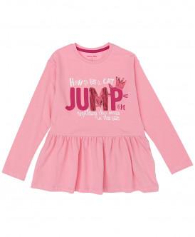 Розовая футболка с баской