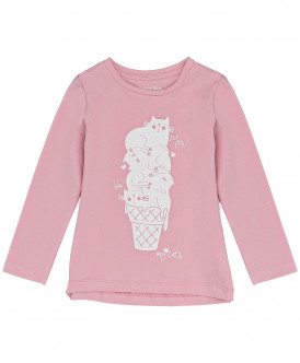 Розовая футболка с длинным рукавом