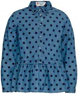 Голубая блузка с баской