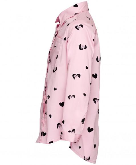 Розовая удлиненная рубашка