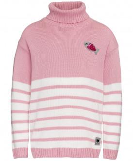 Розовый свитер в полоску