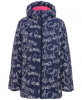 Синяя зимняя куртка с орнаментом 219BBGC41021013 фото