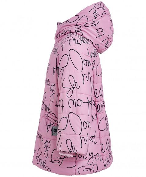 Розовая зимняя куртка с орнаментом