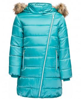 пальто button blue для девочки, бирюзовое
