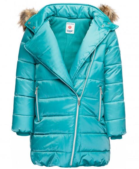 Бирюзовое зимнее пальто