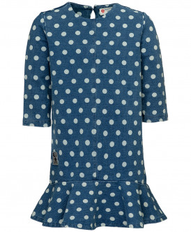 Синее платье в горошек