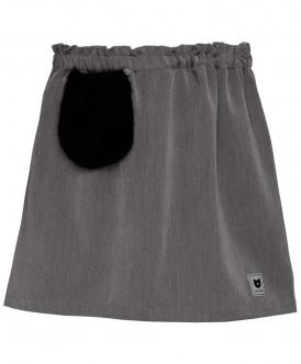 Серая юбка с меховым карманом 219BBGC61011900 фото