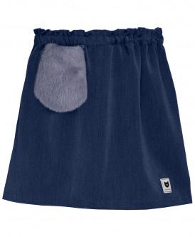 Синяя юбка с меховым карманом
