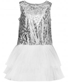 Серебряное нарядное платье