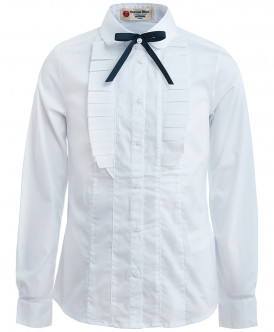 Белая блузка со сменным бантиком 219BBGS22030200 фото