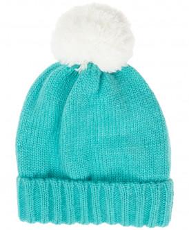 Бирюзовая вязаная шапка на подкладке