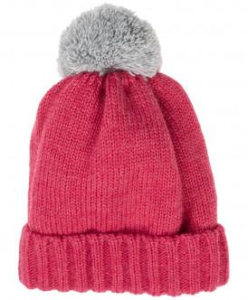 Розовая вязаная шапка на подкладке