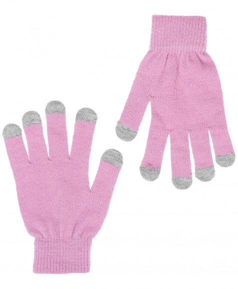 Розовые вязаные перчатки