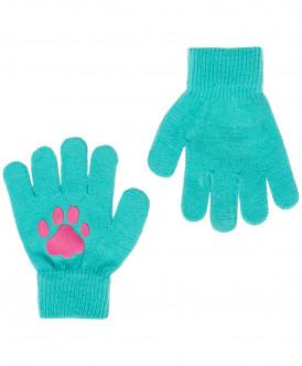 Бирюзовые вязаные перчатки