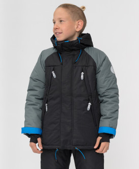 куртка button blue для мальчика, черная