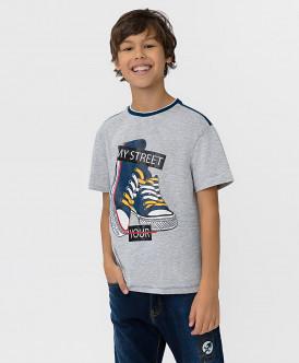Серо-синяя футболка с принтом Button Blue