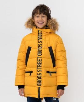 Зимнее пальто горчичного цвета