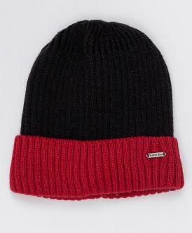 Черно-красная вязаная шапка Button Blue