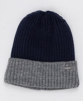 Серо-синяя вязаная шапка