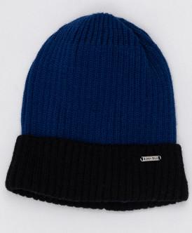 Черно-синяя вязаная шапка Button Blue