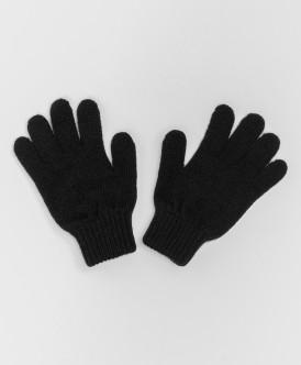 Черные вязаные перчатки Button Blue
