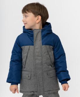 пальто button blue для мальчика, серое