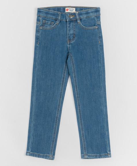 Синие джинсы, бондированные флисом Button Blue