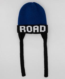 Принтованная синяя шапка с завязками Button Blue