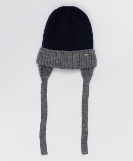 Серо-синяя шапка с завязками Button Blue
