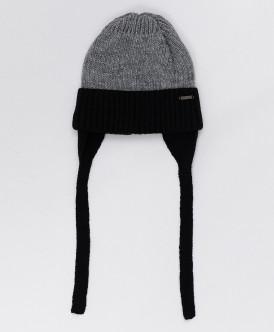 Черно-серая шапка с завязками Button Blue
