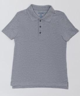 Серое поло с коротким рукавом Button Blue
